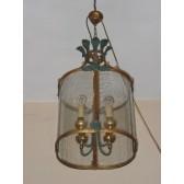 Magnifique lanterne géante en fer forgé et verre artisanal de Venise.