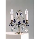 Girandole baroque à 2 bras de lumière et pampilles de verre de Murano et cristal
