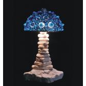 Lampe artisanale fabriquée à partir de verre recyclé, modèle bleu ciel