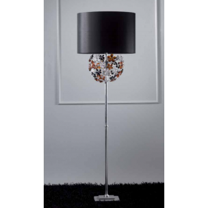 Lampe sur pied artisanal à fleurs de cristal de couleur
