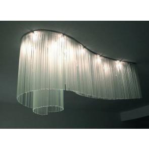 Lustre design, pluie de plaques de verre artisanal, forme allongée